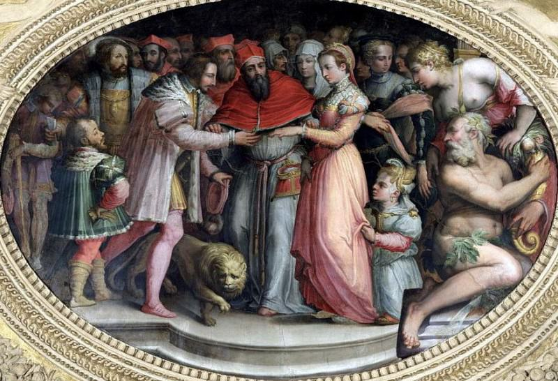 Pope Clement VII marrying Catherine de Medici and Henri II of France, 28th October 1533. Giorgio Vasari