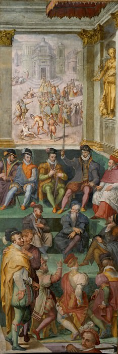 King Charles IX of France Defending the Massacre of the Huguenots in Parliament, August 26, 1572. Giorgio Vasari