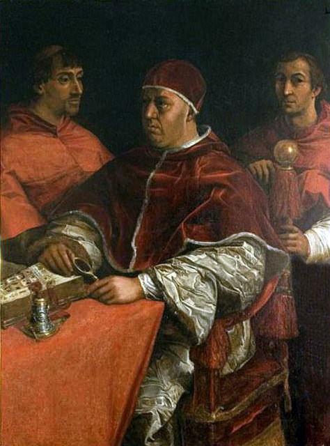 Pope Leo X with Two Cardinals. Giorgio Vasari