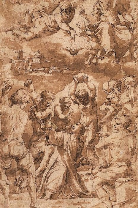 The Stoning of St. Stephen, with the Trinity above. Giorgio Vasari
