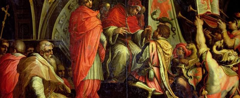 Clement IV (1265-1268), delivering arms to the leaders of the Guelph party. Giorgio Vasari