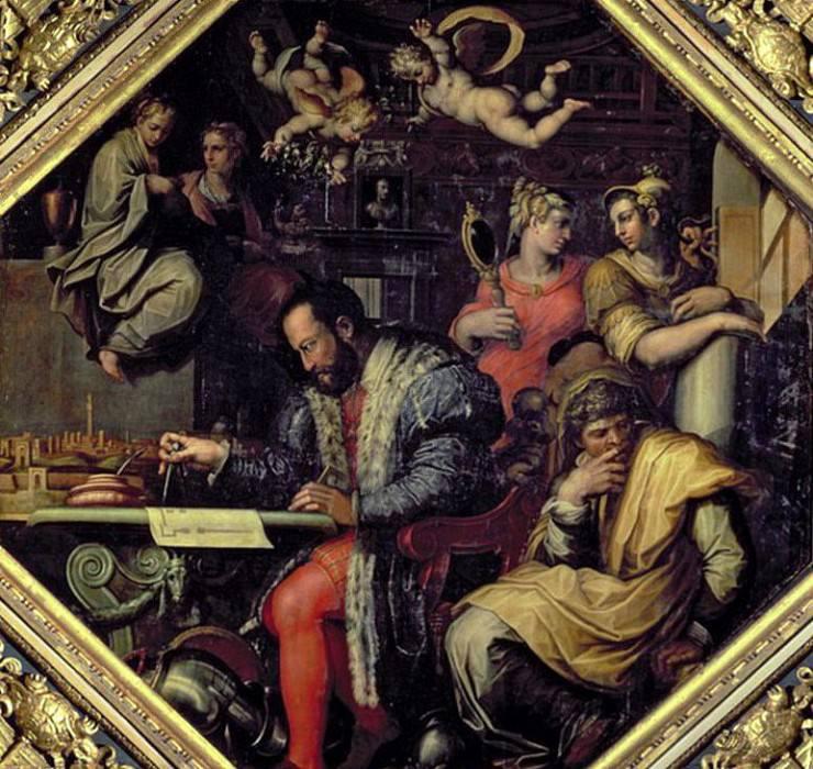 Cosimo I de Medici (1519-1574) planning the conquest of Siena in 1555. Giorgio Vasari
