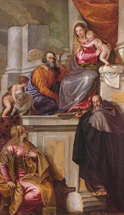 Святое Семейство с Иоанном Крестителем, игуменом святого Антония и Екатериной. Веронезе (Паоло Кальяри)