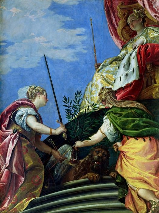 Venice enthroned between Justice and Peace. Veronese (Paolo Cagliari)