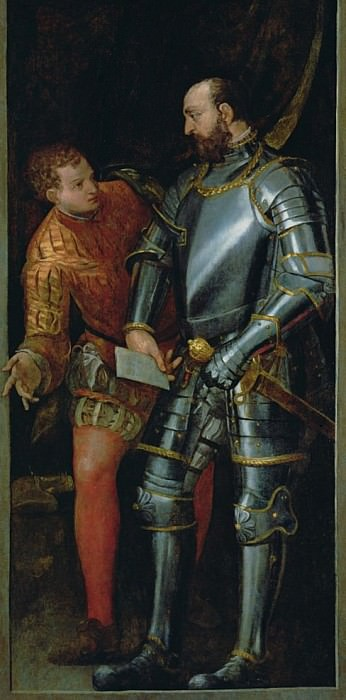 Warrior handing a letter to a page. Veronese (Paolo Cagliari)