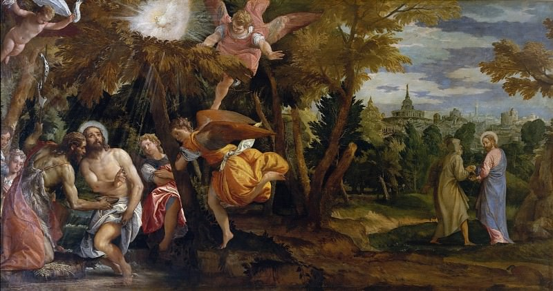 Baptism and Temptation of Christ. Veronese (Paolo Cagliari)