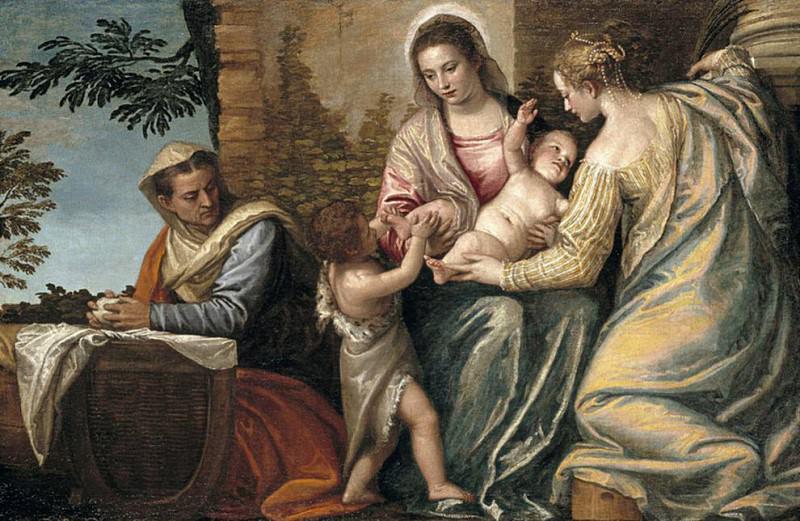 Мадонна с младенцем и святой Елизаветой, младенец Иоанн Креститель и Юстина. Веронезе (Паоло Кальяри)