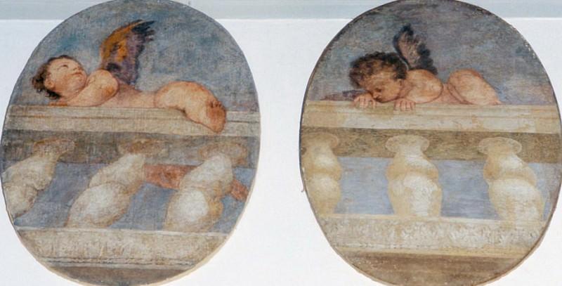 Два крылатых путти перебираются через балюстраду. Веронезе (Паоло Кальяри)
