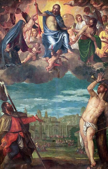Христос, убивающий чуму с молитвами Богородицы, святого Рокко и святого Себастьяна. Веронезе (Паоло Кальяри)