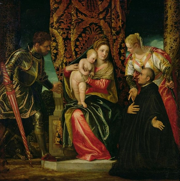 Богоматерь с младенцем между святым Жюстином и святым Георгием с бенедиктинским монахом. Веронезе (Паоло Кальяри)