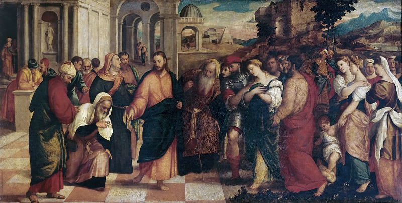 Christ and the Woman Taken in Adultery. Veronese (Bonifacio de Pitati)