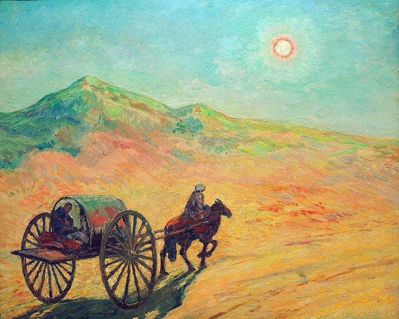 Moonlit night in the Usbek desert. Heinrich Vogeler