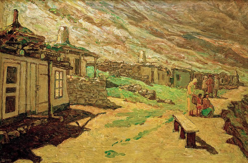 Old village in Caucasus. Heinrich Vogeler
