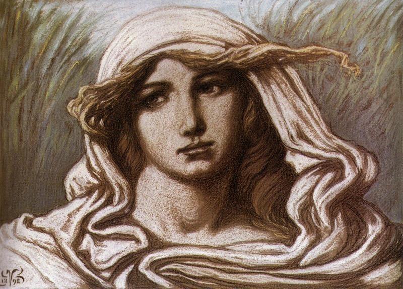 Vedder Elihu Head of a Young Woman 1900. Elihu Vedder