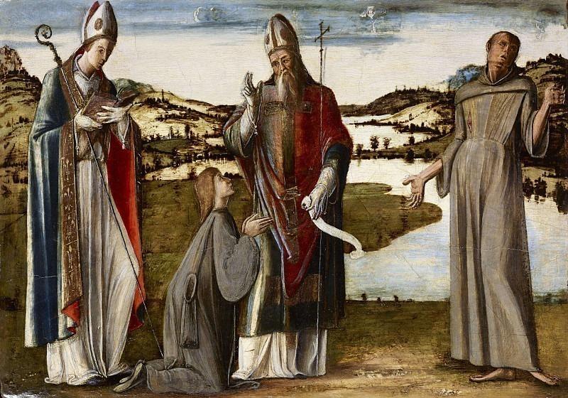 Святой епископ (Андреа) с подвижниками, святыми Людовиком Тулузским и Франциском Ассизским. Альвизе Виварини