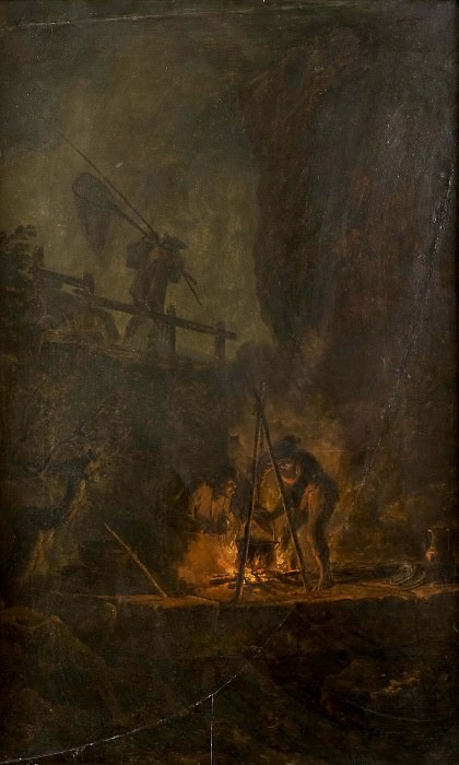 Men near a Fire in the Mountains. Pierre-Jacques Volaire