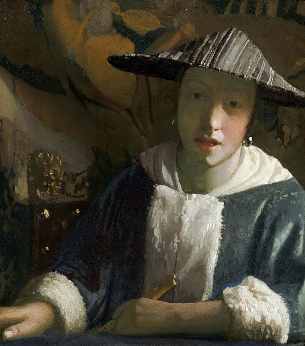 Girl with a Flute. Johannes Vermeer (attr.)