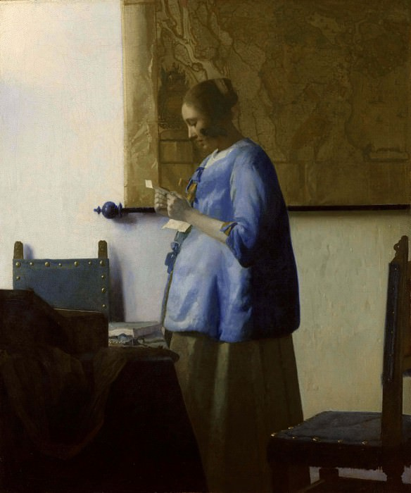 Woman in Blue Reading a Letter. Johannes Vermeer