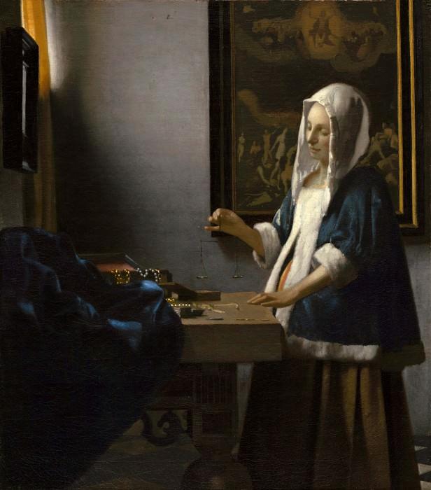 Woman Holding a Balance. Johannes Vermeer