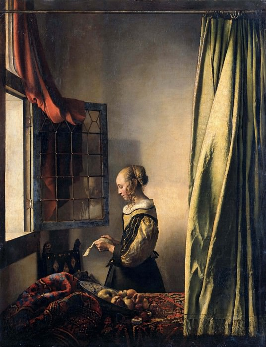 Girl Reading a Letter at an Open Window. Johannes Vermeer