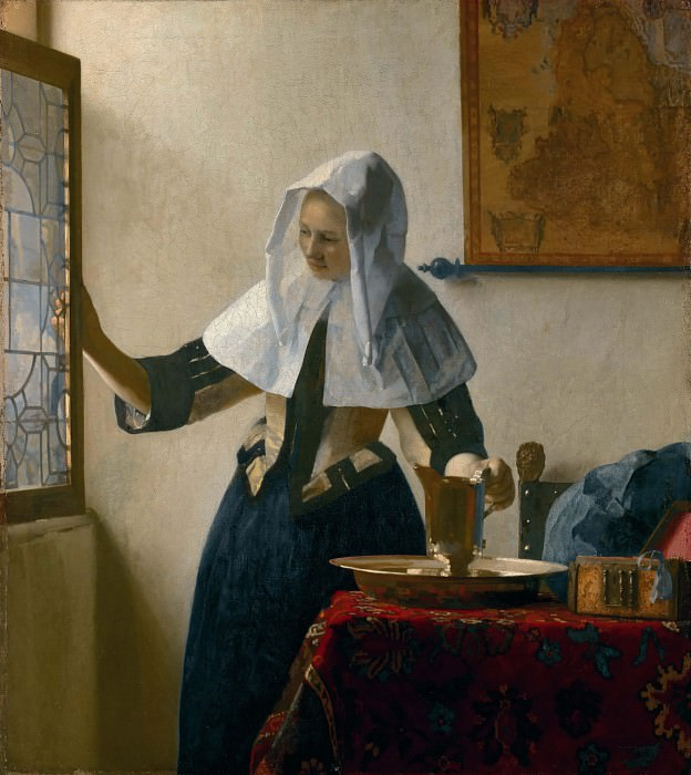 Young Woman with a Water Pitcher. Johannes Vermeer