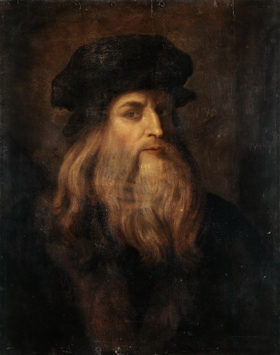 Anonymous Artist 17c Presumed Portrait of Leonardo da Vinci. Leonardo da Vinci