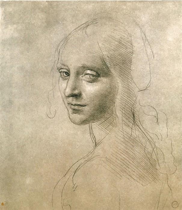 Face of the Angel for the Virgin of the Rocks. Leonardo da Vinci