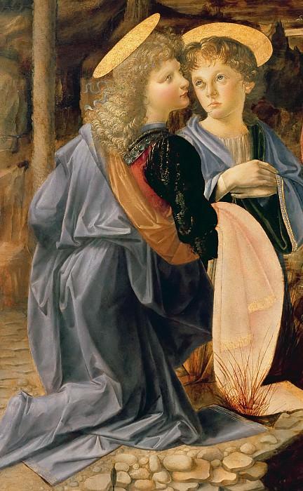 Крещение Христа, фрагмент (работа Верроккьо, ангел слева - работа да Винчи). Леонардо да Винчи