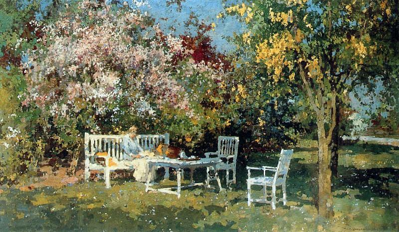 Vreedenburgh Cornelis Garden With Blossoming Trees Sun. Cornelis Vreedenburgh