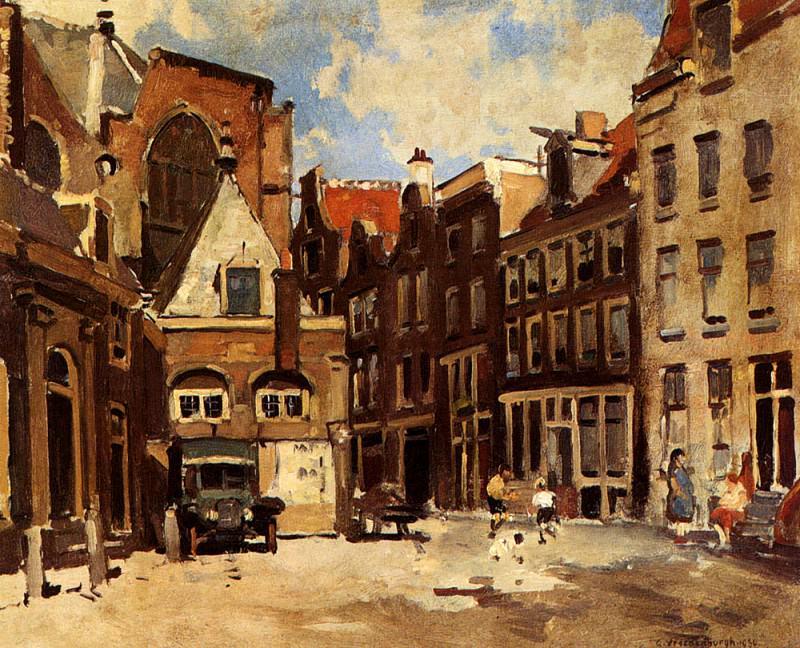 Vreedenburgh Cornelis A Townscene With Children At Play Haarlem. Cornelis Vreedenburgh