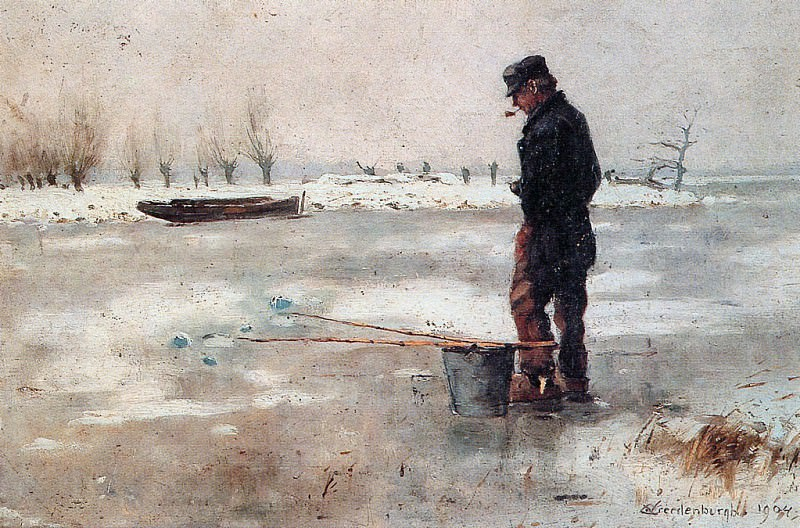 Vreedenburgh Cornelis Fisher On The Ice Sun. Cornelis Vreedenburgh