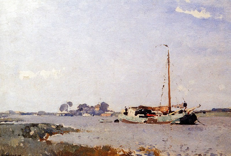 Vreedenburgh Cornelis Ships On A Puddle Sun. Cornelis Vreedenburgh