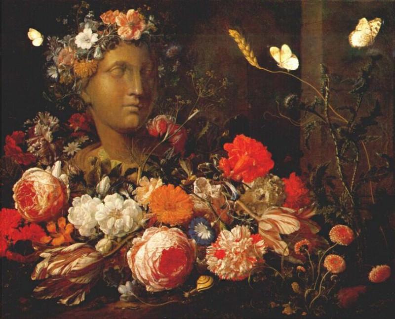 verendael flowers round a classical bust c1680. Verendael