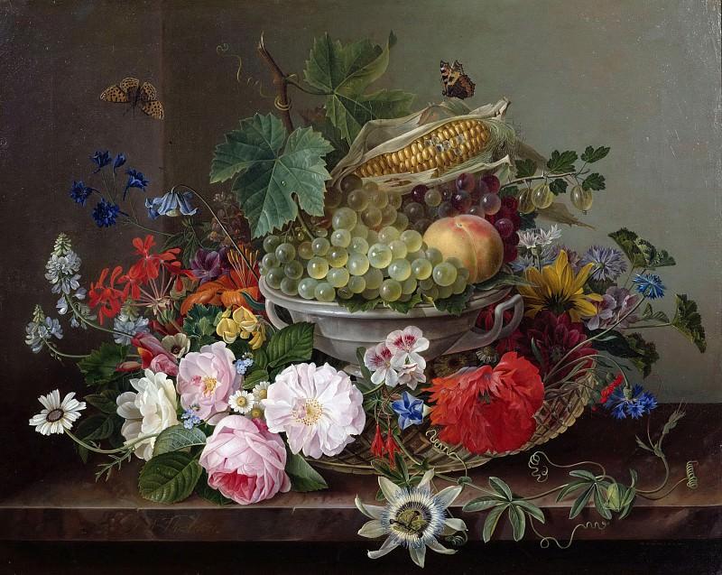 Flower still life with fruit basket. Gottfried Wilhelm Volcker