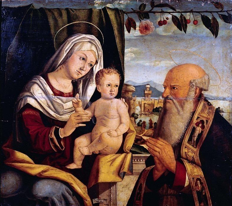 Мадонна с младенцем и святым епископом. Филиппо Веронезе