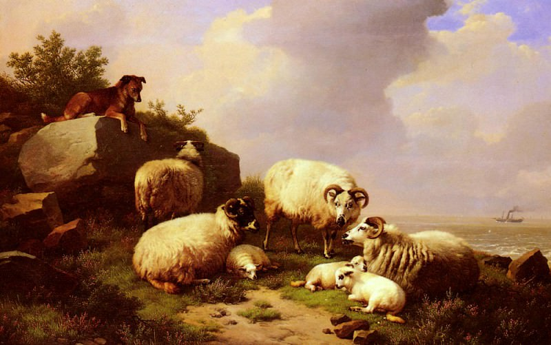 Verboeckhoven Eugene Joseph Guarding The Flock By The Coast. Eugene Joseph Verboeckhoven