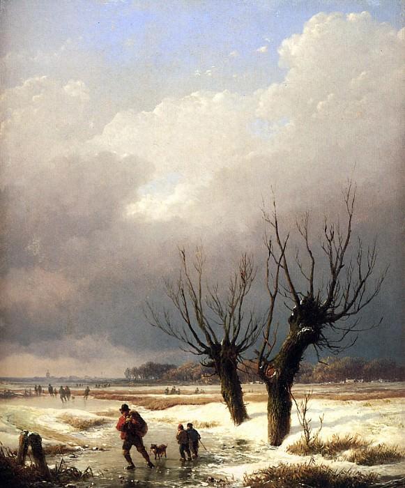 Verboeckhoven Eugиne Winterlandscape Sun. Эжен Жозеф Вербукховен