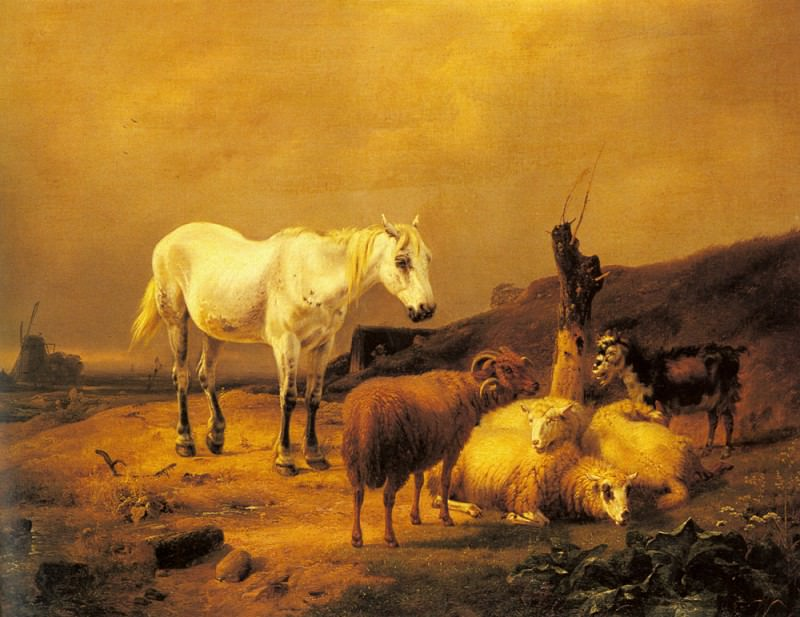 Verboeckhoven Eugene A Horse Sheep And Goat In A Landscape. Эжен Жозеф Вербукховен