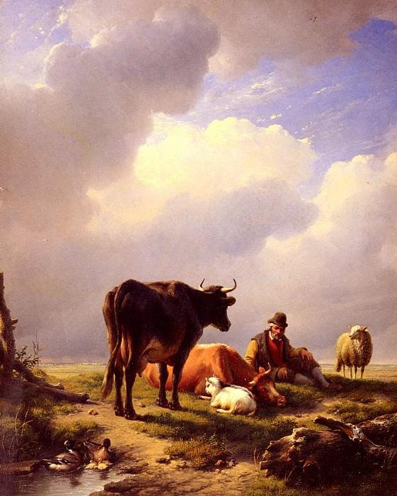 Verboeckhoven Eugene Joseph A farmer At Rest With His Stock. Эжен Жозеф Вербукховен