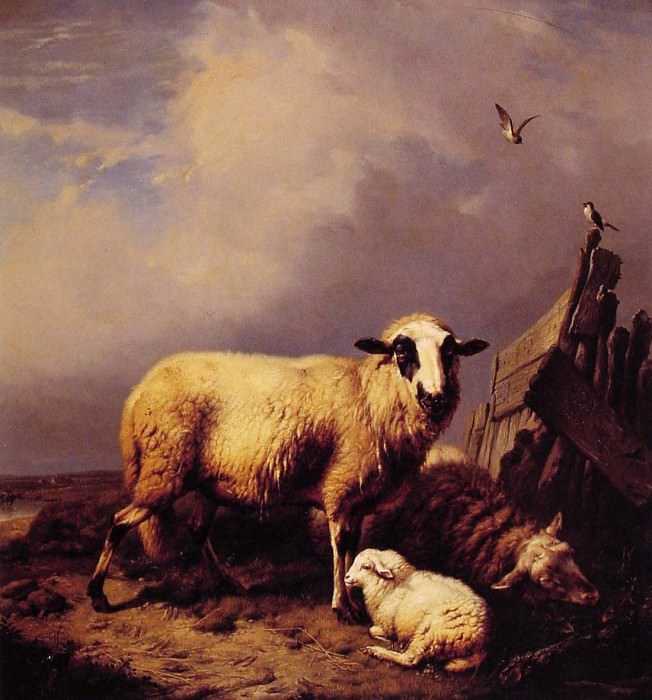 Guarding the Lamb. Eugene Joseph Verboeckhoven