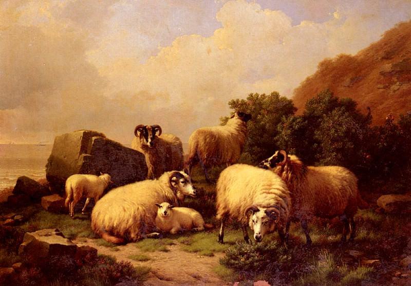 Verboeckhoven Eugene Joseph Sheep grazing By The Coast. Эжен Жозеф Вербукховен