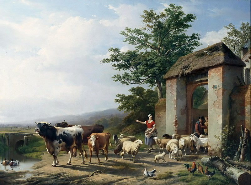 The departure to the pasture. Eugene Joseph Verboeckhoven