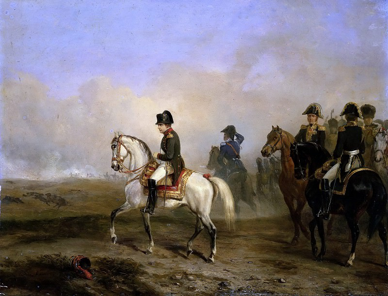 Emperor Napoleon I and his staff on horseback. Horace Vernet