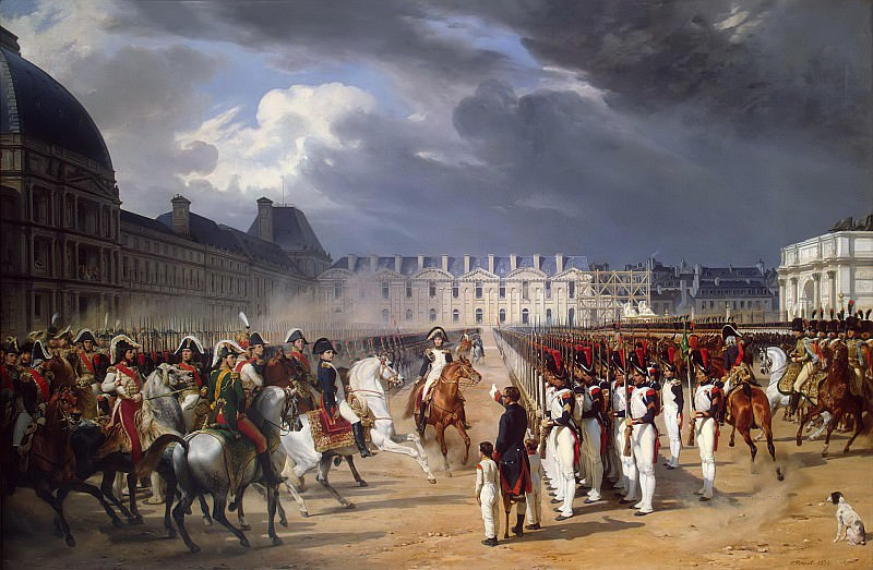 Invalid Handing a Petition to Napoleon at the Parade in the Court of the Tuileries Palace. Horace Vernet