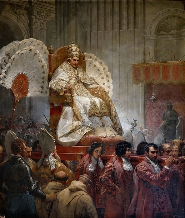 Ceremonial Carrying of Pope Pius VIII into the St Peter Cathedral in 1829. Horace Vernet