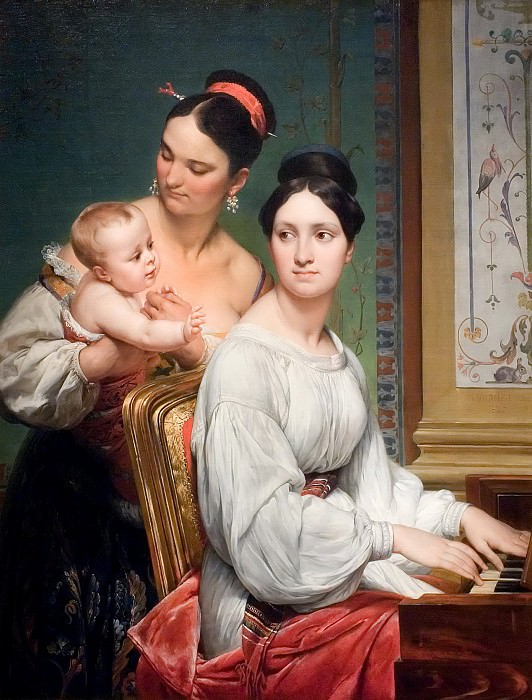 Portrait of the Marchesa Cunegonda Misciattelli with Her Infant Son and His Nurse. Horace Vernet