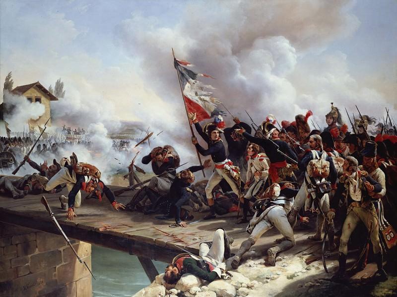 Napoleon Bonaparte leading his troops over the bridge of Arcole. Horace Vernet