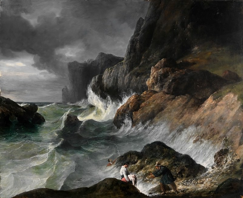 Stormy Coast Scene after a Shipwreck. Horace Vernet