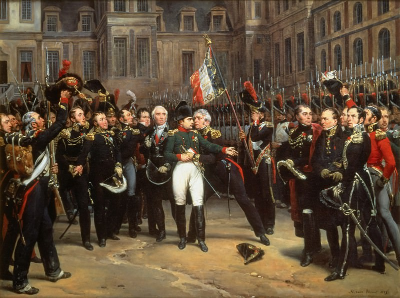 Napoloen bids farewell to his Guard at Fontainebleau on 20 April 1814. Horace Vernet