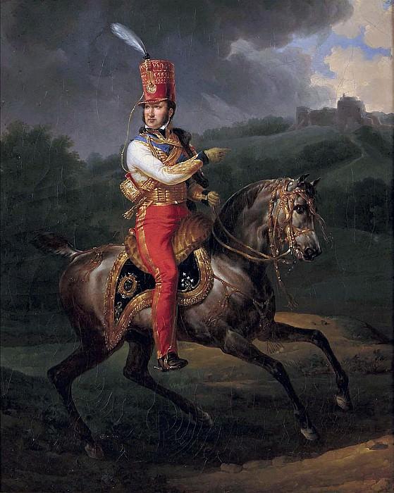 Portrait equestre de Louis Philippe (1747-1793), alors Duc d'Orleans, en uniforme de Colonel-General des hussards. Horace Vernet